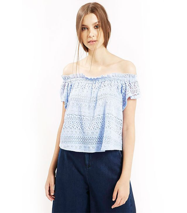 Topshop Lace Bardot Top