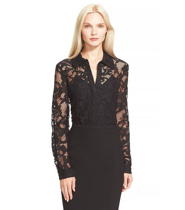 Diane von Furstenberg Lorelai Two Sheer Lace Shirt