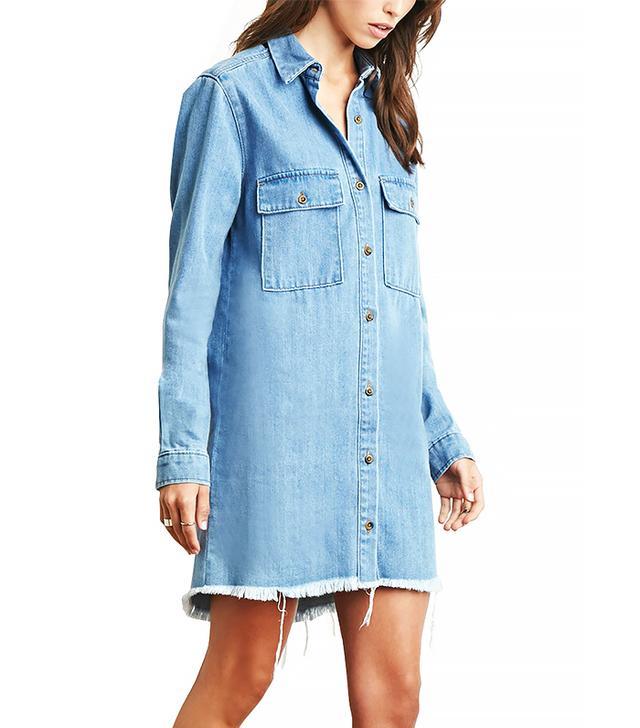 Forever 21 Frayed Denim Shirt Dress