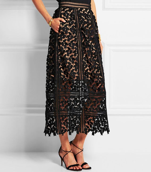 Self-Portrait Arabella Lace Midi Skirt