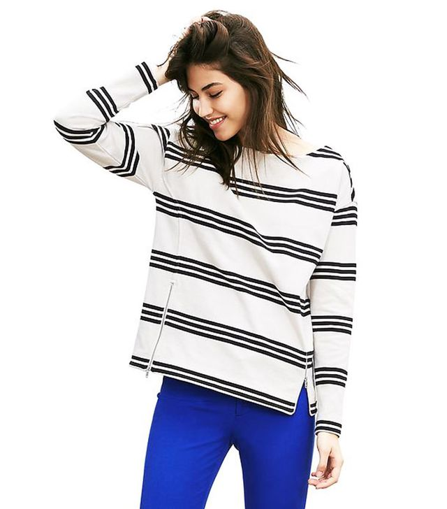 Banana Republic Striped Zip-Front Pullover