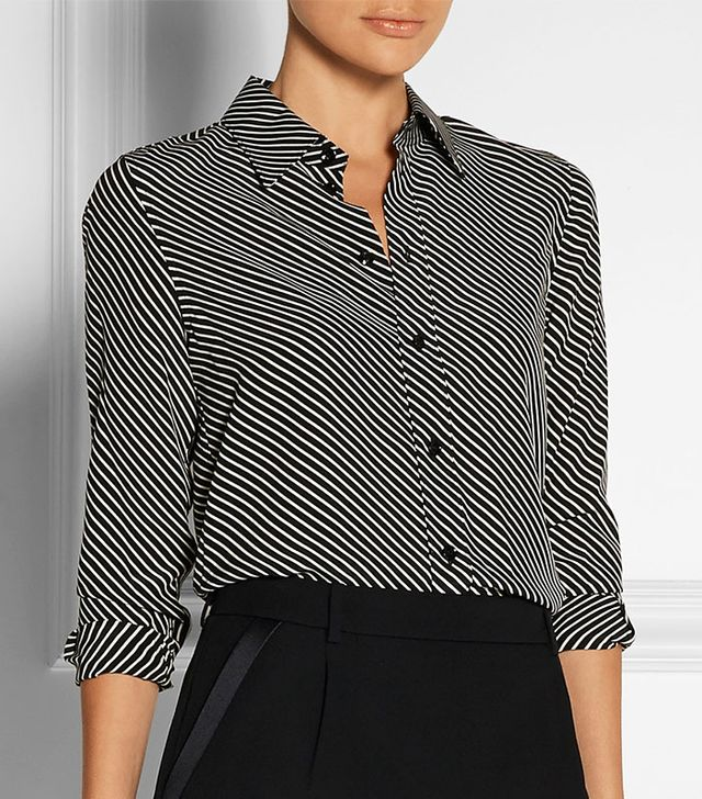 Saint Laurent Striped Crepe de Chine Blouse