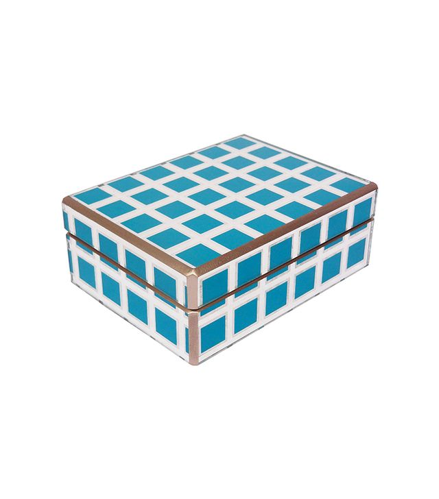 "7"" Turquoise and Gold Grid Box"