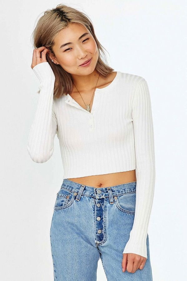 Unif x UO Ribbed Cropped Henley Top