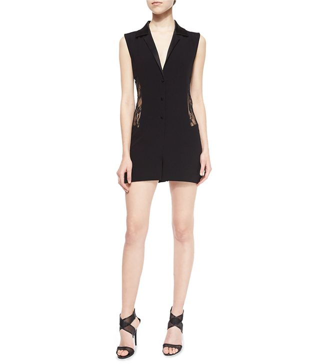 Diane von Furstenberg Seduction Mesh-Side Collared Romper
