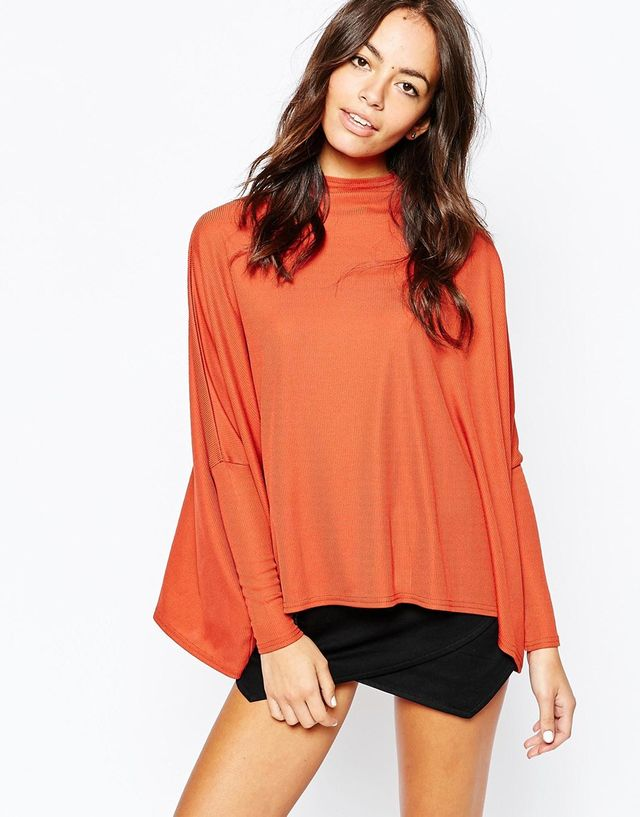 Daisy Street Ribbed Turtle Neck Cape Top