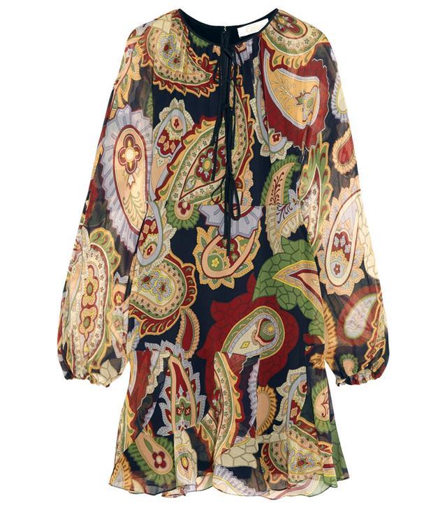 Chloé Paisley-Print Silk-Chiffon Mini Dress