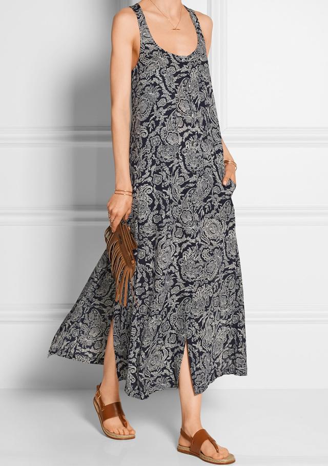 Theory Coruna Printed Silk-Georgette Maxi Dress