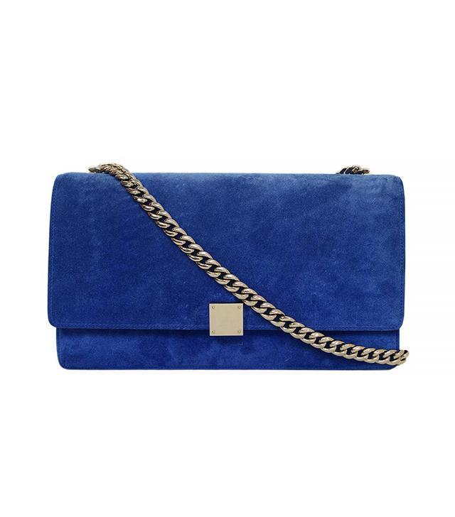 Céline Cobalt Blue Suede Medium Case Flap Bag