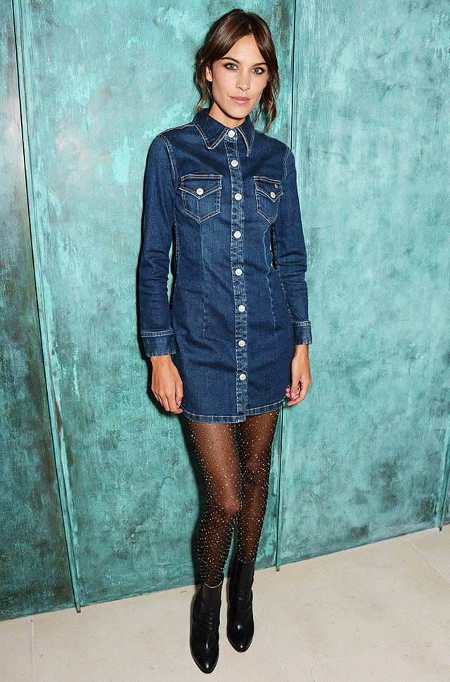 1. A denim dress is the cool-girl alternative to your standard party dress.