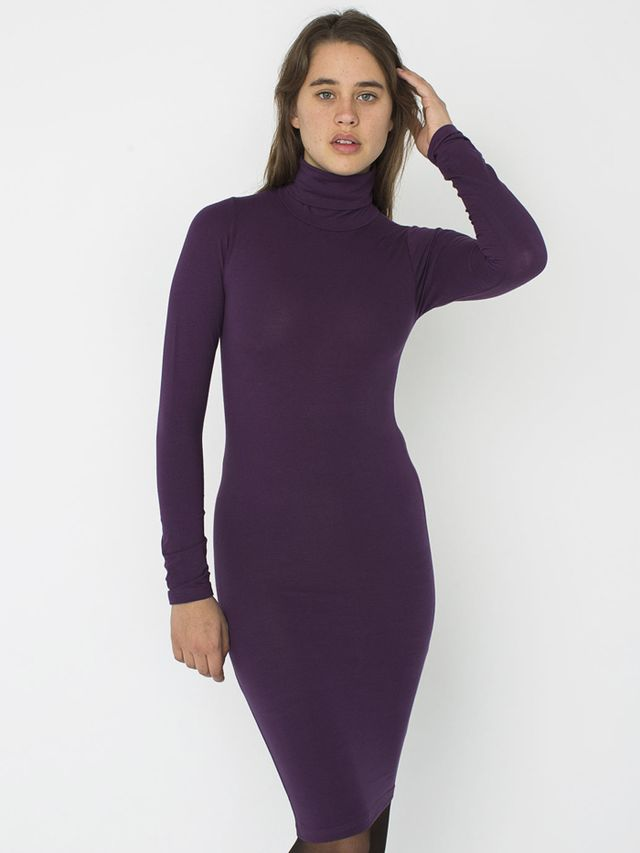 American Apparel Cotton Spandex Jersey Turtleneck Dress