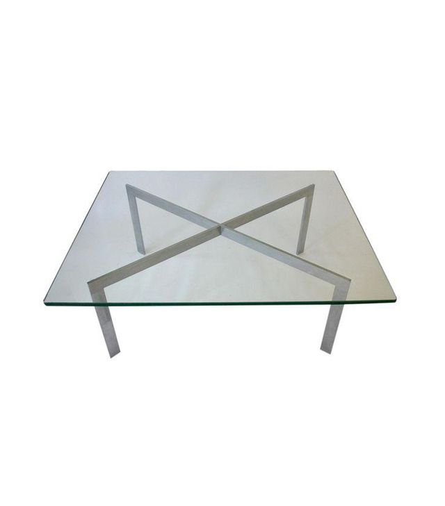 Chairish Barcelona Style Mid-Century Glass Coffee Table