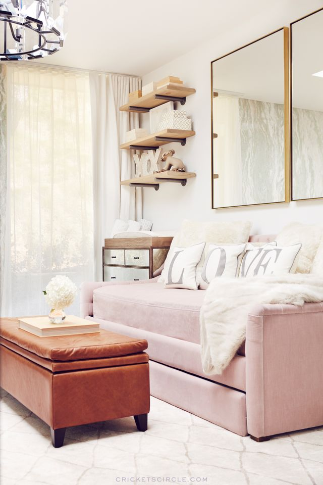"The family opted for neutrals, pastels, leather, wood, and mirrored finishes—a beautiful balance of masculine and feminine elements. ""Just because we're having a boy..."