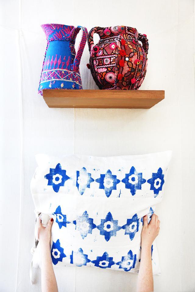 A Block Print Pillow