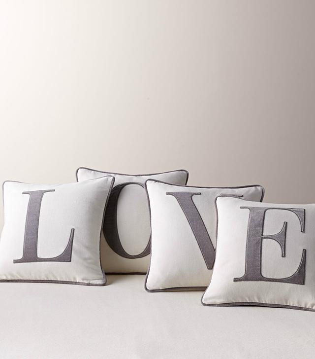 RH Baby & Child Velvet Applique L-O-V-E Pillow Cover Set and Inserts