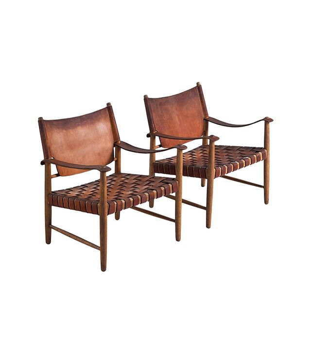 1stdibs Safari Chairs in Cognac Leather