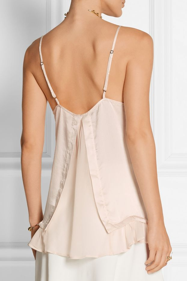 CLU Chiffon Trimmed Washed Silk Camisole