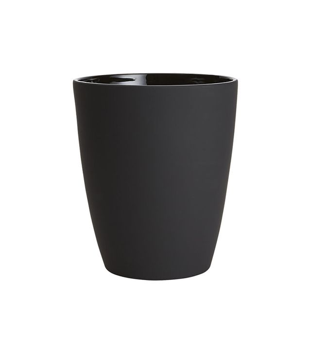 CB2 Rubber-Coated Black Wastecan