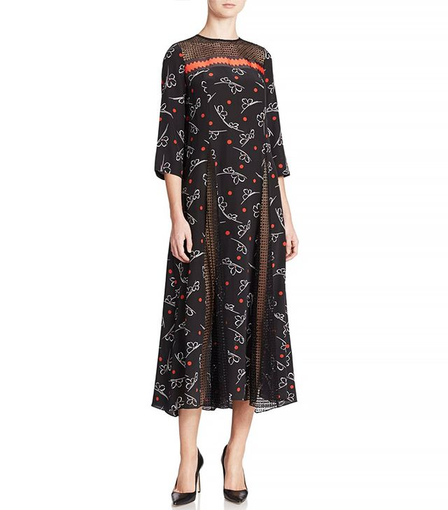 Suno Printed Ribbon Godet Dress