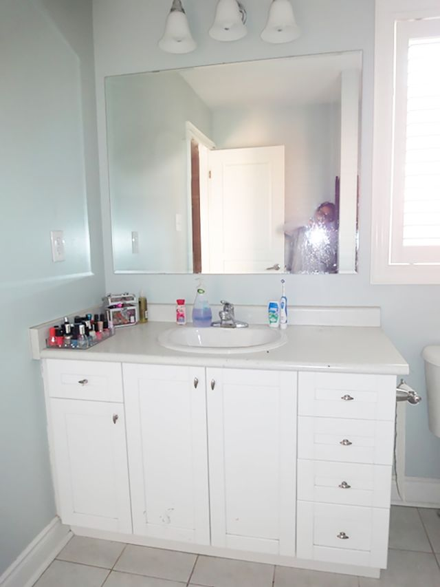 Before and after an affordable black and white bathroom for Affordable baths