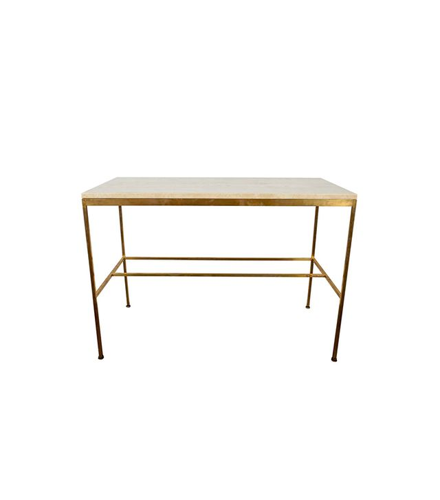 Paul McCobb Travertine and Brass Console Table
