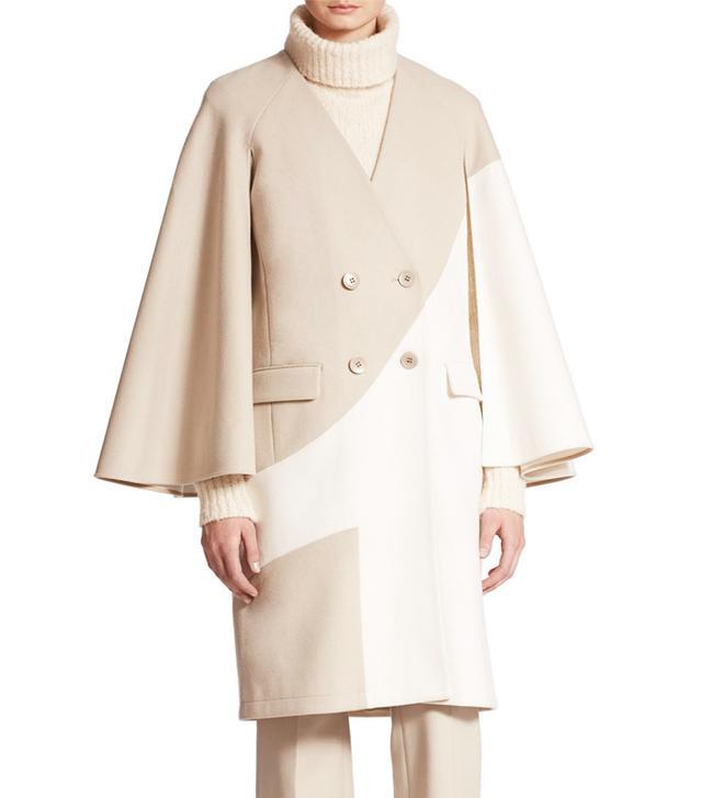 Tibi Siku Cape Sleeve Two-Tone Wool Blend Coat