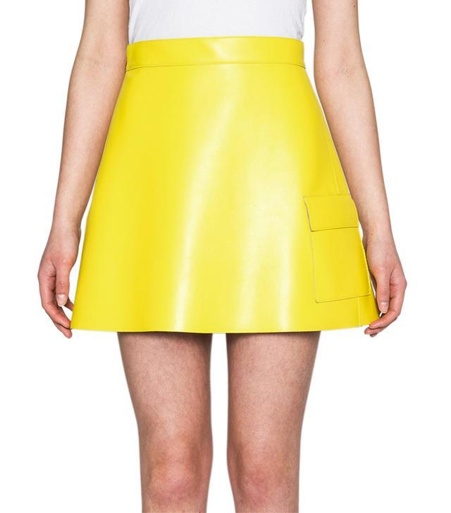 MSGM Faux Leather A-Line Mini Skirt