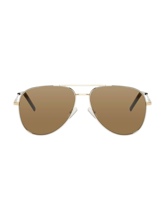 Saint Laurent Silver Classic 11 Aviator Sunglasses