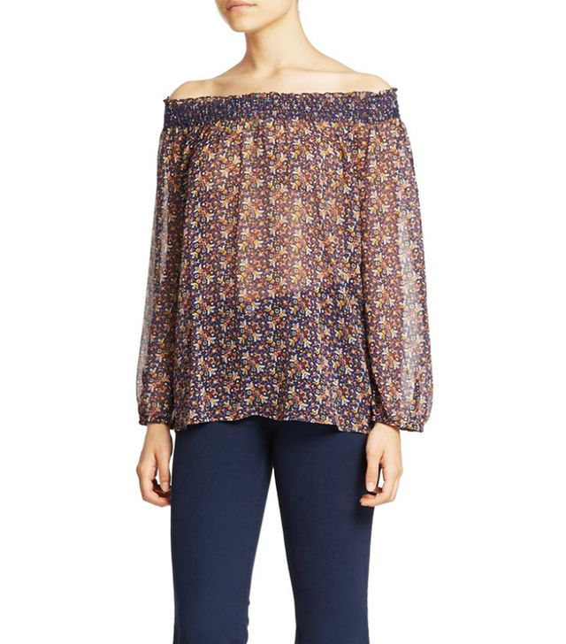 Joie Azzedine Printed Silk Off-The-Shoulder Blouse