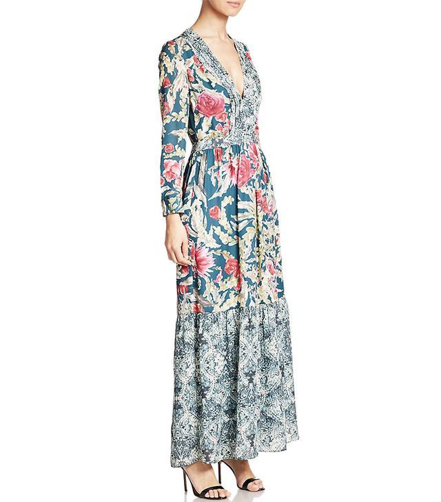 Haute Hippie Deep V Printed Silk Maxi Dress