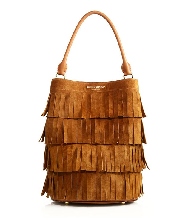 Burberry Fringe-Trim Suede Bucket Bag