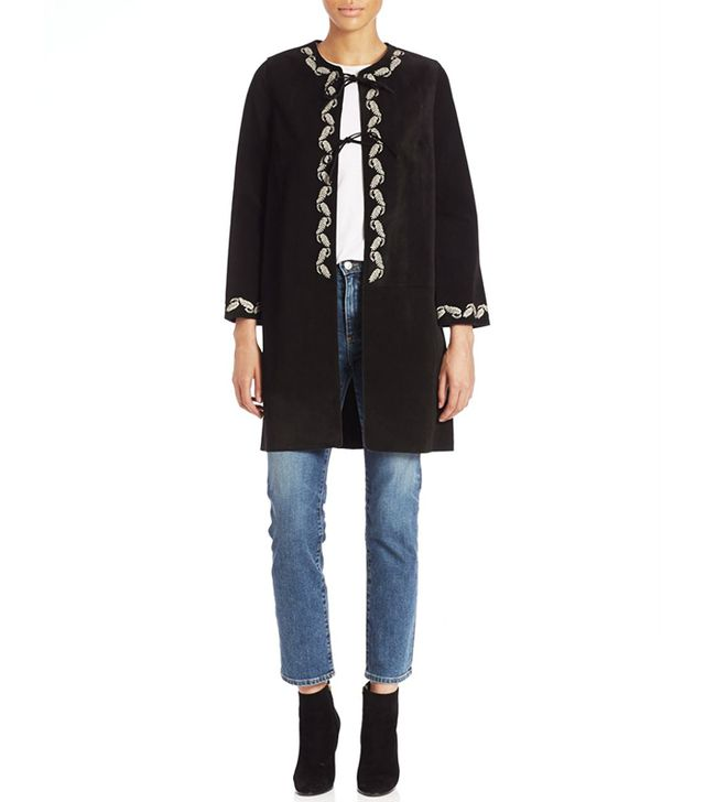 Alexa Chung for AG The Walker Embroidered Suede Jacket
