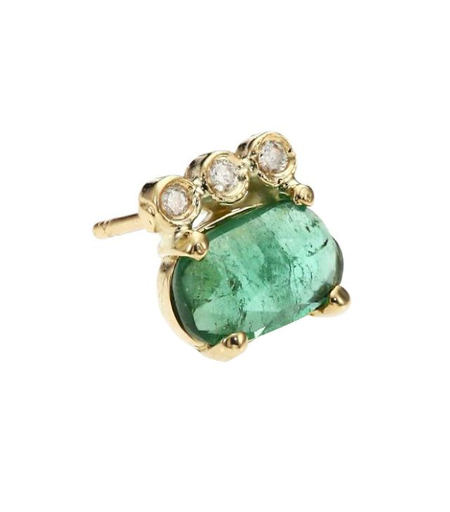 Jacquie Aiche Green Tourmaline, Diamond & 14K Yellow Gold Three-Bezel Single Stud Earring