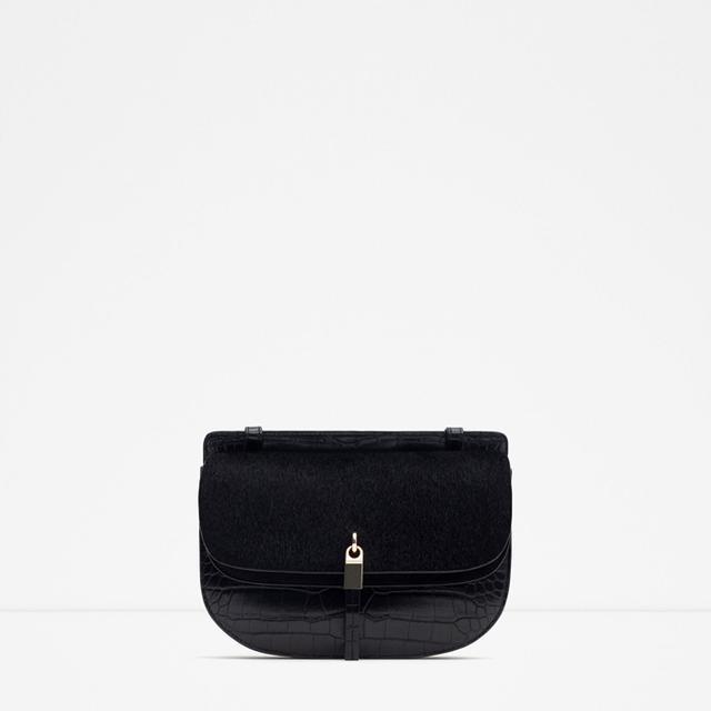 Zara Mock Croc Messenger Bag