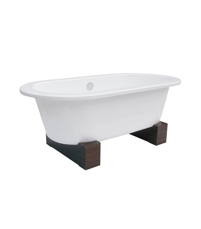 Belle Foret Contemporary Walnut Leg Cast-Iron Tub