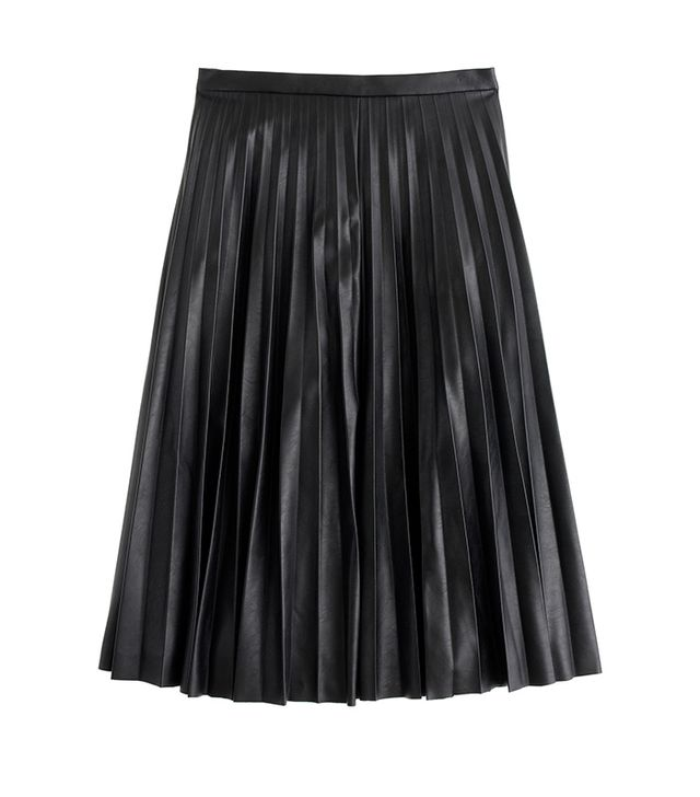 J. Crew Faux Leather Pleated Midi Skirt