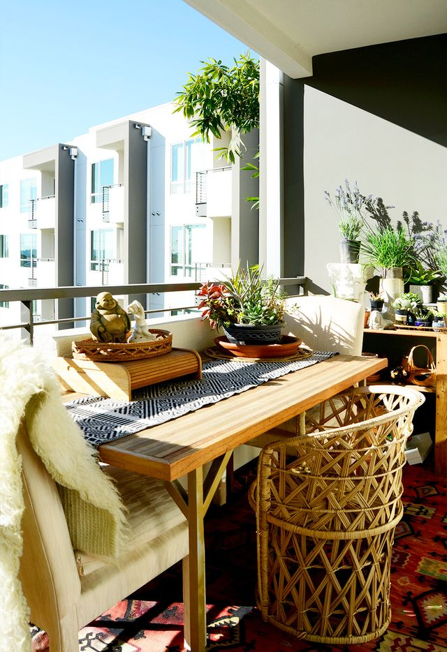 A sweet balcony serves as a perfect place for craft projects and more in Erica Reitman's L.A. apartment.
