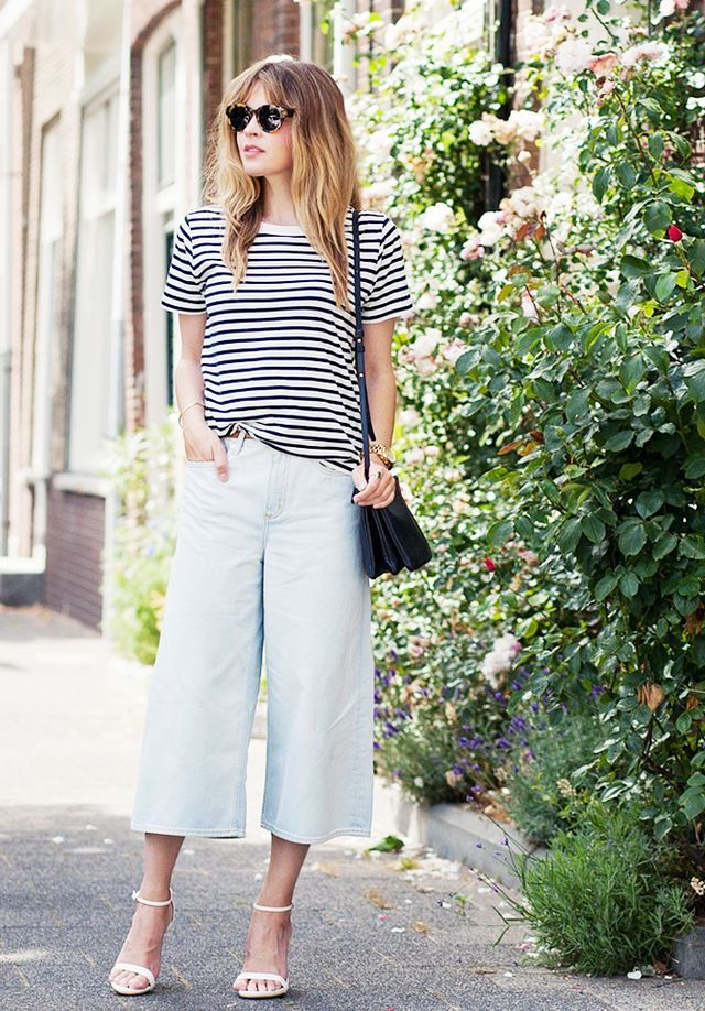 On Christine Reehorst of Fash n Chips: H&M Jersey Top ($10) in Dark Blue/Striped; 7 For All Mankind Denim Culottes ($198).