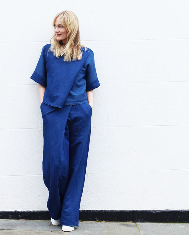 Marie Hindkaer Wolthers of Blame It on Fashion: Carin Wester Dark Top ($108) in Denim and Deborah Pants ($124) in Denim.