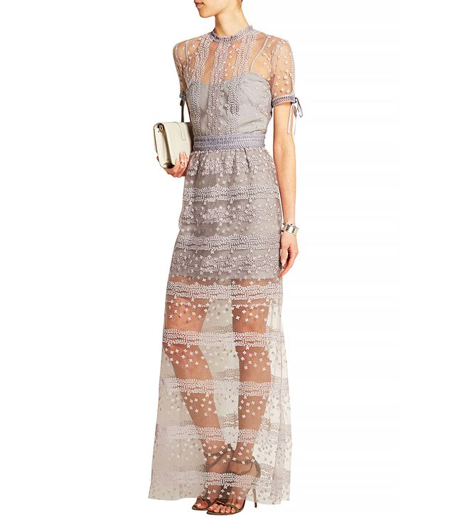 Self-Portrait Embroidered Tulle Gown