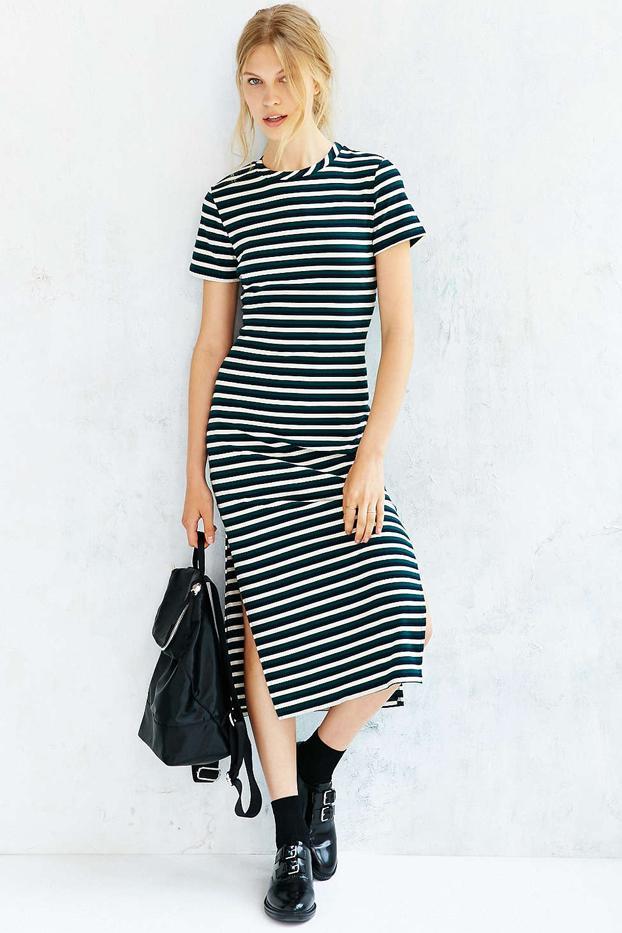 Glamorous Ribbed Stripe Midi Dress