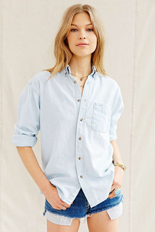 Urban Renewal Recycled Bleached Out Denim Shirt