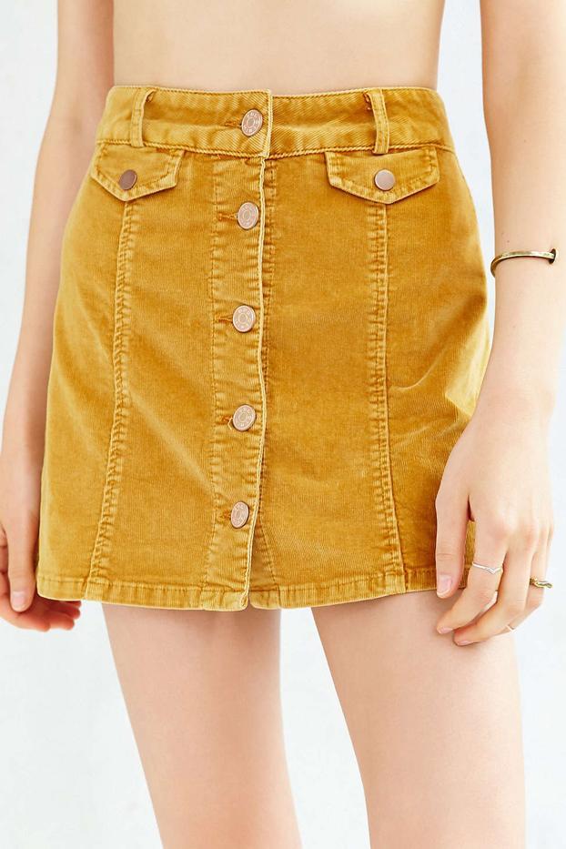 BDG Button-Front Corduroy Mini Skirt