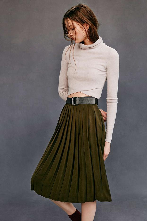 Silence + Noise Silky Pleated Midi Skirt