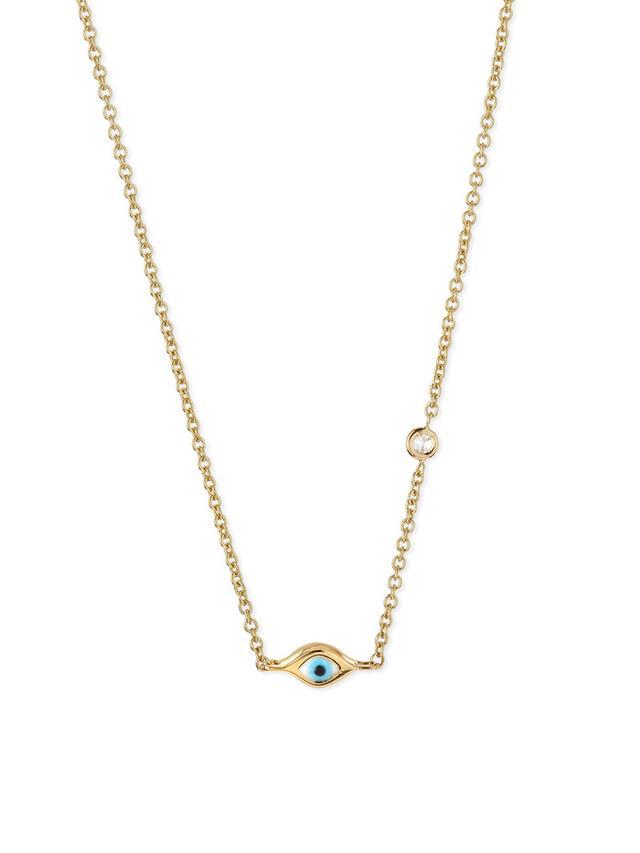 Sydney Evan 14K Gold Mini Evil Eye Necklace With Diamond