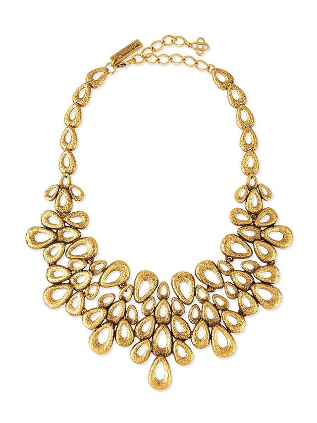 Oscar de la Renta Gold-Plated Teardrop Bib Necklace