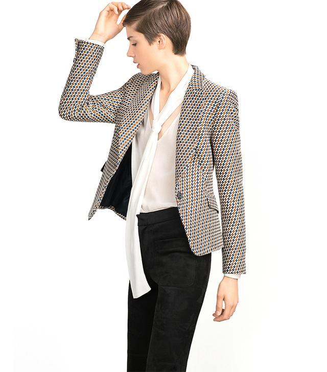 Zara Jacquard Pattern Blazer