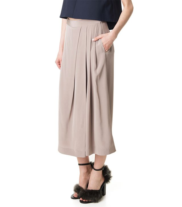Tibi Silk Pleated Drape Culottes