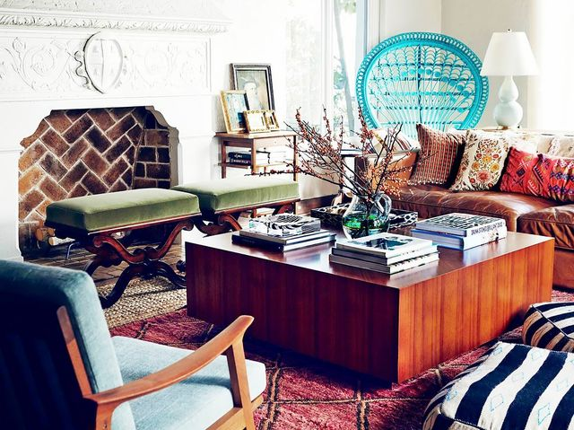 Print can add texture and an eclectic touch to a layered room. The rug and throw cushions in this spacebreak up the heavy furniture with a touch of whimsy. Take the tour of this patterned...