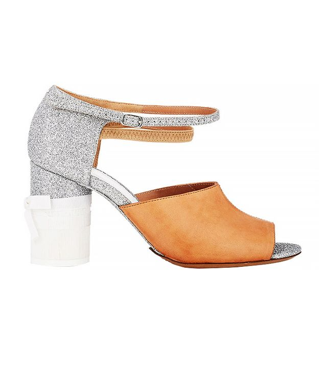 Maison Margiela Leather & Glitter Ankle-Strap Sandals